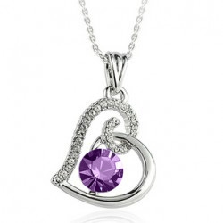 Austrian Crystal Love Heart-Shaped Necklace PURPLE