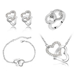 Double Love Crystal Necklaces Bracelets Earrings Ring Full Set