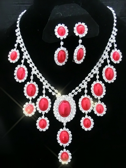 SALES Elegant Misery Red Pearl Diamond Necklace Jewel Set