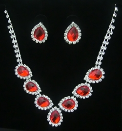 SALES Bridal Classic Elegant Diamond Necklace Earrings Set RED