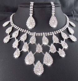 Clearance Gorgeous Bridal Evening Wedding Necklace Set