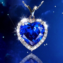 Crystal Titanic Ocean Blue Heart-shaped Necklace