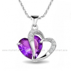 Purple Diamond 925 Sterling Silver Pendant Set