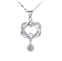 Crossing Love 925 Sterling Silver With Diamond Knot Pendant Set