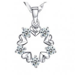 Lovely Flower Crystal 925 Sterling Silver Pendant FREE NECKLACE