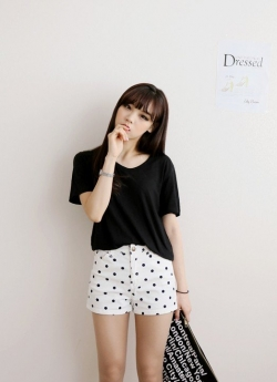 SALES Fresh Black and White Dots Slim Summer Short Pants WHITE