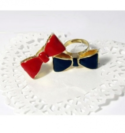 Korea Pure Retro Bow Ring RED
