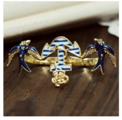 Europe Navy Ring Anchor Ring Swallow Ring Double Finger Ring