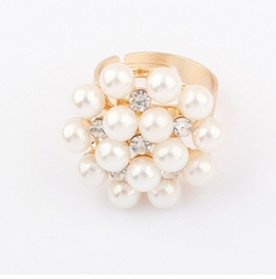 Korean Pearl Floral Ring
