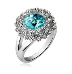 SALES Czech Crystal Round Diamond Ring SILVERSKYBLUE