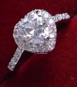 One Karat Zircon Crystal Diamond Engagement Ring BIG