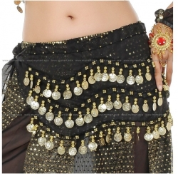 Belly Dance Costume 128 Gold Coins BLACK