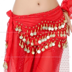 Belly Dance Costume 128 Gold Coins RED