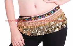 Belly Dance 248Gold Coins Waist Chain Waist Belt PINK