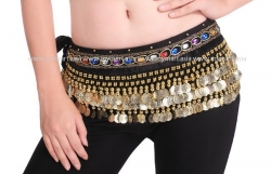 Belly Dance 248Gold Coins Waist Chain Waist Belt BLACK