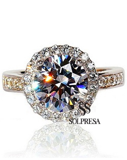 SOLPRESA Italy Royal Luxury 2 Karat Pigeon Diamond Ring