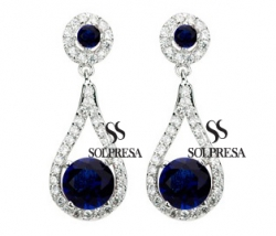 Solpresa Luxurious Roman Design Earrings BLUE