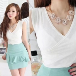 Summer Korea Slim Short Sleeved Top WHITE