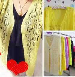Clearance Korean Fluorescent Color Knit Cardigan YELLOW