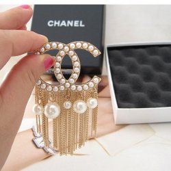 Celebrity Double C Pearl Tassels Brooch