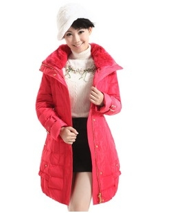 Prelove Clearance Winter Dress Platinum Rex Rabbit Fur Elegant Wintercoat ROSE