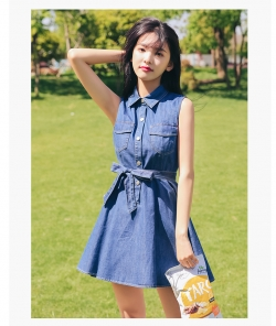 Denim waist bandage Slim denim dress