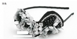 LOVE HAND-EMBROIDERED BEADS FLASHING DIAMOND HAIRBAND GREY