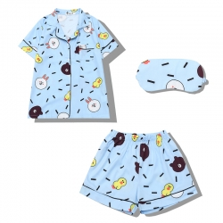 Summer Sweet cute cartoon Brown bear blue pyjamas eye mask set