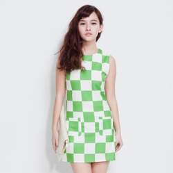 Clearance Korea Unique Elegant Boxes Print Green Dress